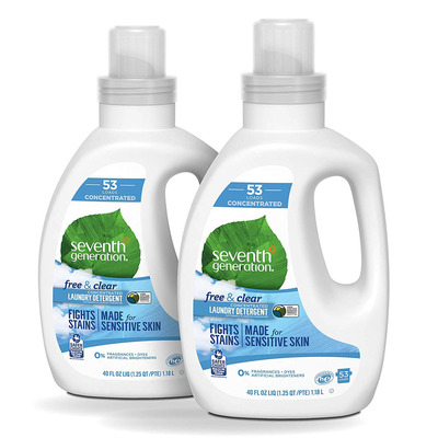 Pick up two Seventh Generation Free & Clear Unscented Laundry Detergent Bottles at over 30% off