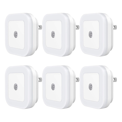 Sycees Plug-in LED Night Light with Dusk-to-Dawn Sensor (6-pack)