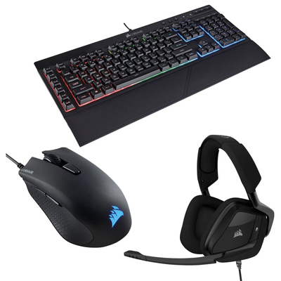 Corsair Pro wired gaming bundle with keyboard, headset, mouse, mouse pad