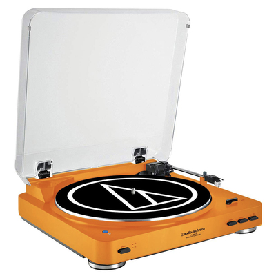 Take $10 off Audio-Technica's orange stereo turntable system at BuyDig
