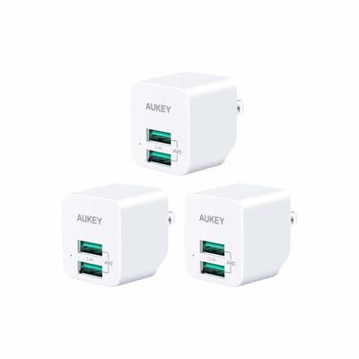 Keep all your tech powered up with three Aukey dual-USB wall chargers for just $5 apiece