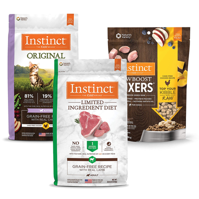 Feed your pet something healthier with Instinct grain-free pet food on sale today only at 25% off