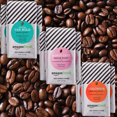 Restock the essentials with AmazonFresh Ground Coffee as low as $4 per bag