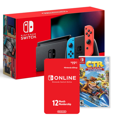 Nintendo Switch bundle with Crash Team Racing and Nintendo Switch Online