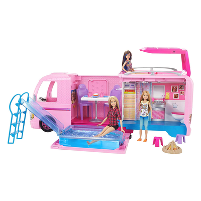 The Barbie Dream Camper on sale at 50% off turns into a campsite for Barbie's friends with a button press