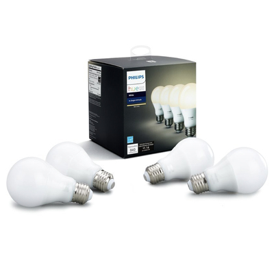 Philips Hue white A19 4-pack dimmable LED smart bulbs
