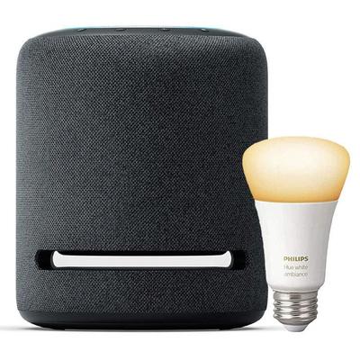 Amazon Echo Studio high-fidelity smart speaker and Philips Hue smart bulb