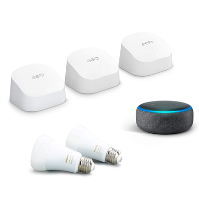 Eero 6 Mesh Wi-Fi System with free Echo Dot and 2 Philips Hue Bulbs