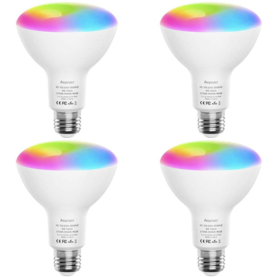 Aoycocr BR30 dimmable LED multi-color smart bulbs 4-pack