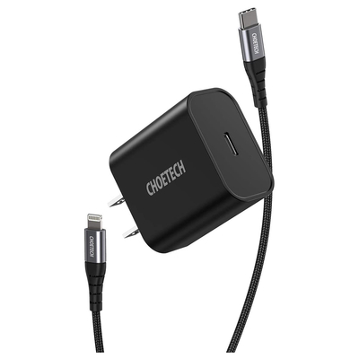Choetech 18W USB-C PD wall charger + USB-C to Lightning Cable
