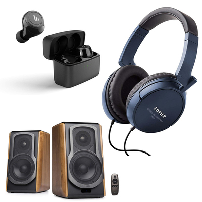 Edifier powerful bookshelf speakers over-ear headphones and more