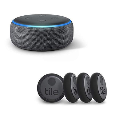 Tile Sticker (4-pack) with Amazon Echo Dot smart speaker