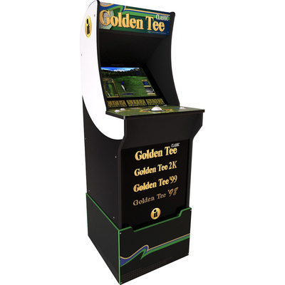 Arcade1Up Golden Tee arcade cabinet with riser