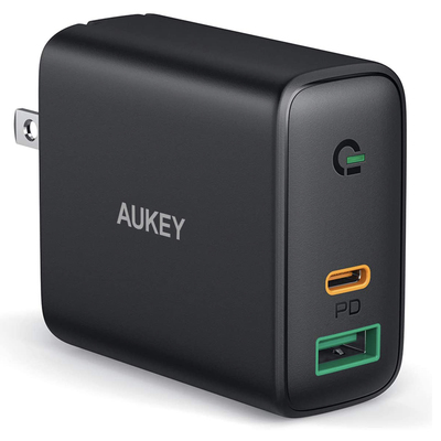 Aukey 30W Power Delivery 3.0  USB-C dual-port fast wall charger