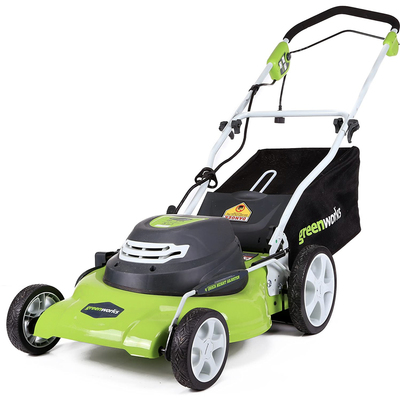 Greenworks lawn mower, leaf blower, string trimmer tools