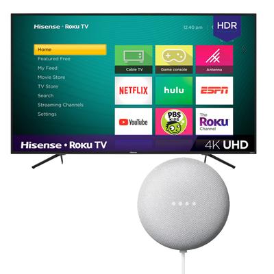 Hisense 55-inch 4K UHD HDR Smart Roku TV (R6070E3 Series) with free Google Nest Mini