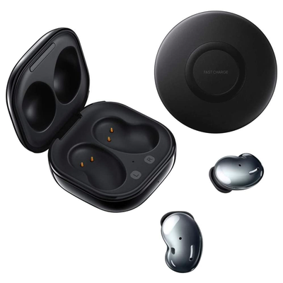 Samsung Galaxy Buds Live with Wireless Charging Pad Bundle