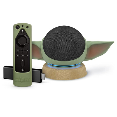 Amazon 4th-generation Star Wars-themed Echo Dot, 4K Fire TV Stick, and stand Grogu Green