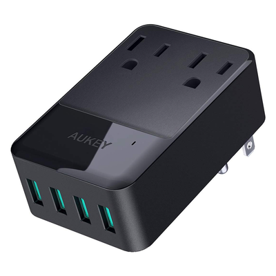 Aukey 30W Wall Charger with 2 Outlets and 4 USB Ports