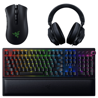 Razer Gaming accessories including mice, keyboards, and more