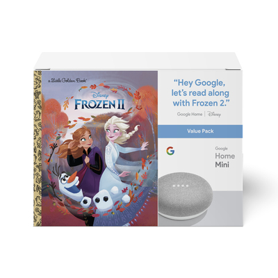 Google Home Mini smart speaker and Frozen 2 book