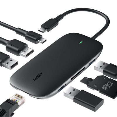 Aukey 8-in-1 hub USB-C adapter