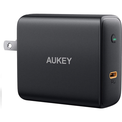 Aukey USB-C 60W fast charger with foldable plug