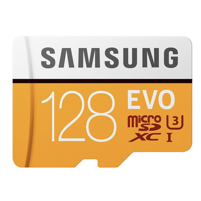 Samsung Evo 128GB microSDXC card and adapter
