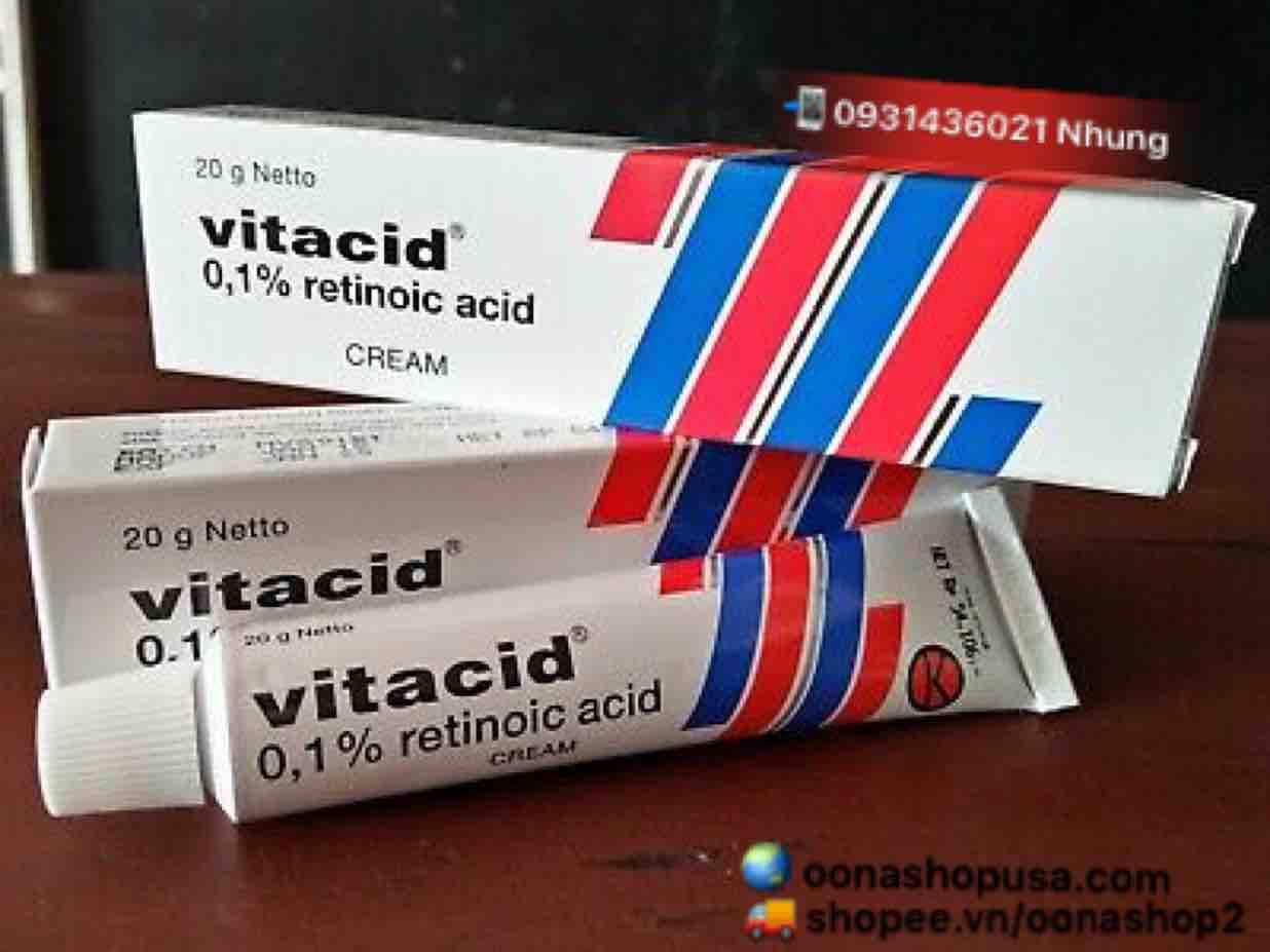 Kem Tretinoin 0.1% Kem Vitacid 0.1% Trị Mụn Chống Lão Hoá Da (20g)