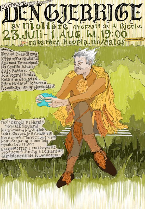 """Plakat av """"Den Gjerrige"""" med sparegrisen sin"""