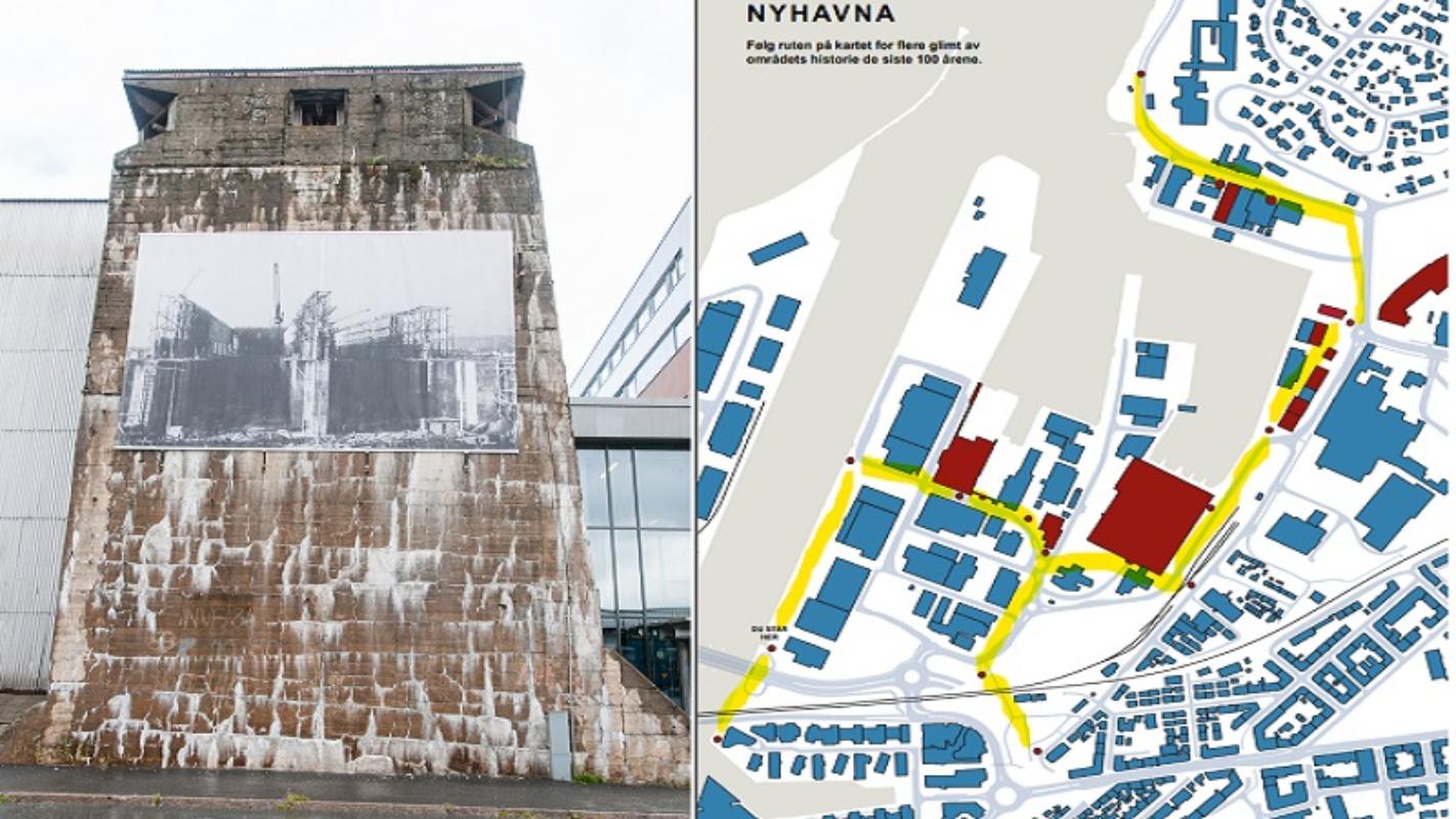 Langs den kulturhistoriske løypa på Nyhavna vil du finne en rekke gamle foto