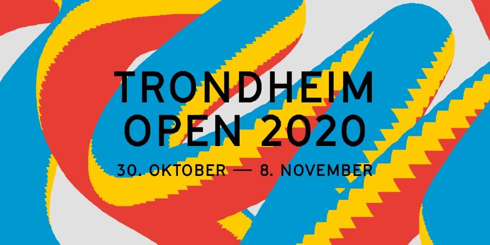 """Illustrasjon i blått, gult og rødt med teksten """"TRONDHEIM OPEN 2020 30. OKTOBER - 8. NOVEMBER"""""""