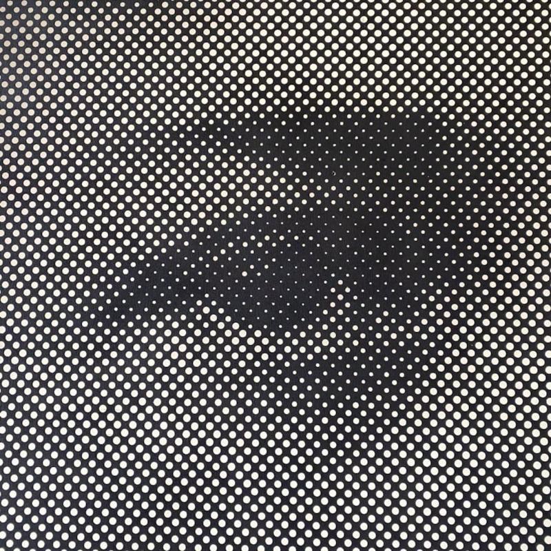 Detalj av et kunstverk. Sort lerret med perforerte hull i flere størrelser. Hullene danner et mønster - et utsnitt av et kvinneansikt. Vi ser kun øyet og øyenbryn.