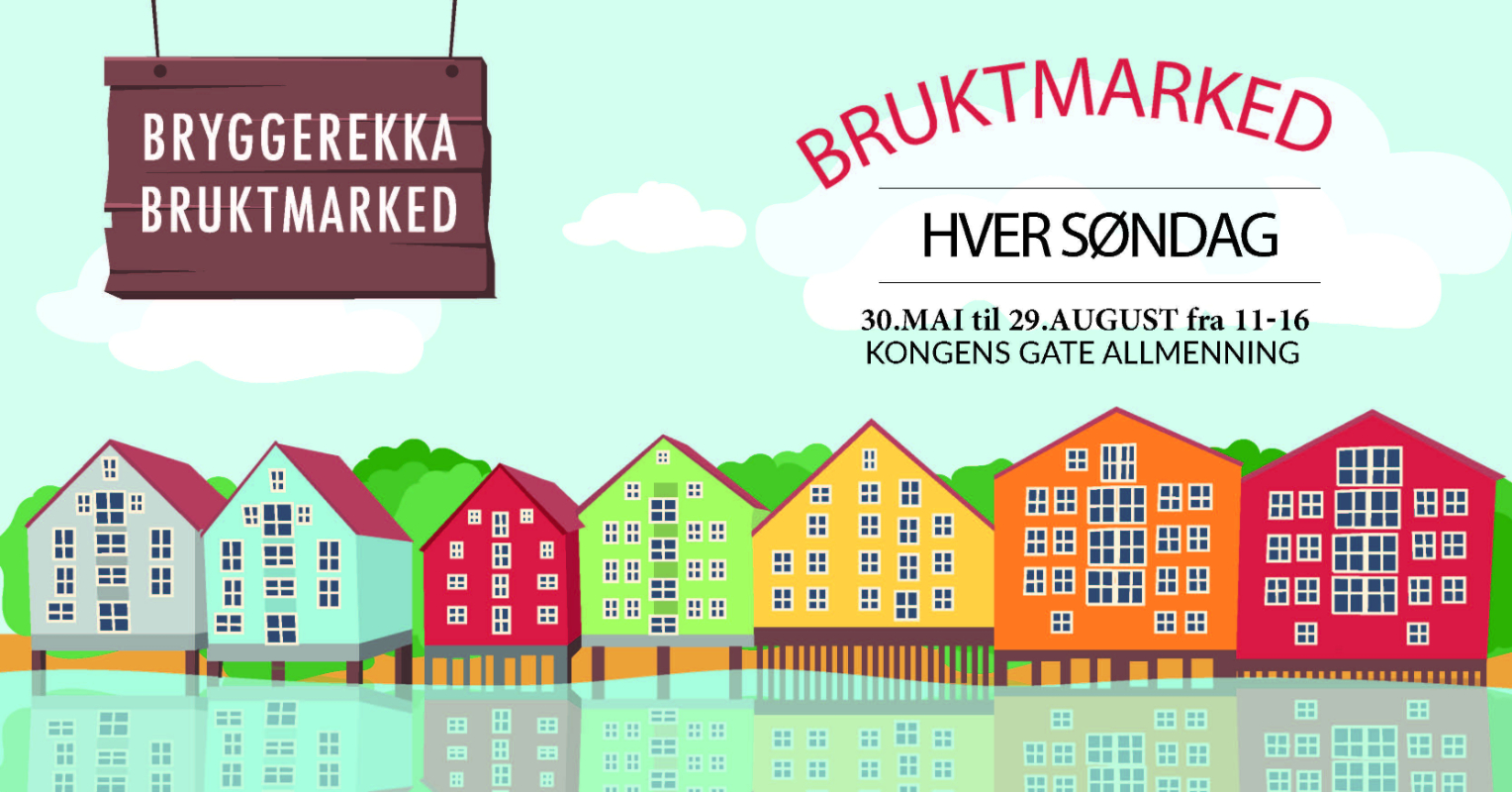 Bryggerekka Bruktmarked ved Nidelva i Trondheim