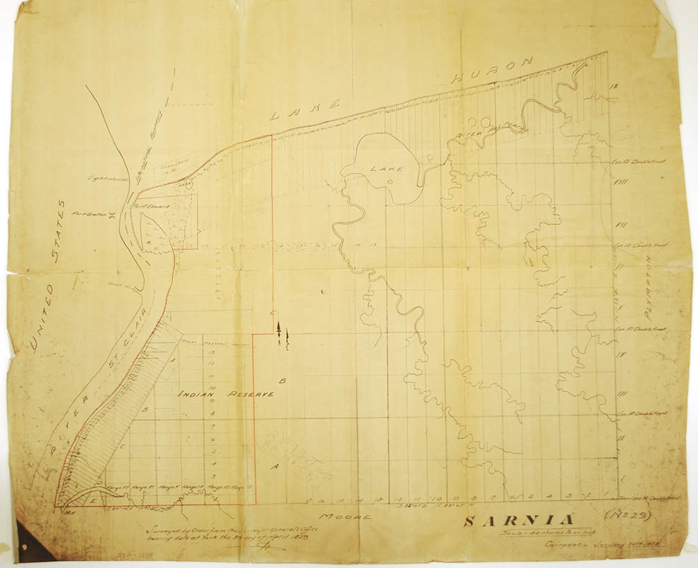 The 1829 survey that shows the boundaries of the Sarnia Reserve after the 1827 Huron Tract Purchase. The survey divides the Land into parcels that can be used to facilitate future land sale.
