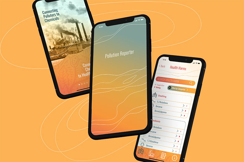Pollution reporter app promotional image