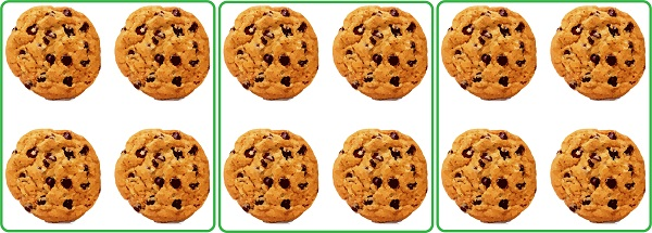 12 cookies divided equally into 3 groups