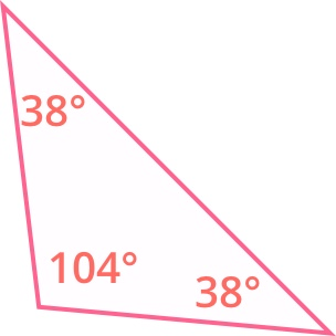 one of the angles of the triangle measures 104 degrees