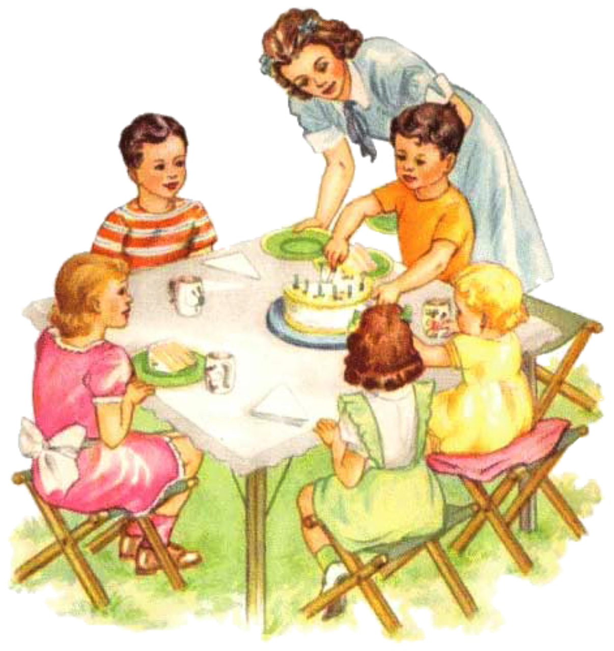Family sitting at table eating cake