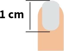 A fingernail measuring 1 cm