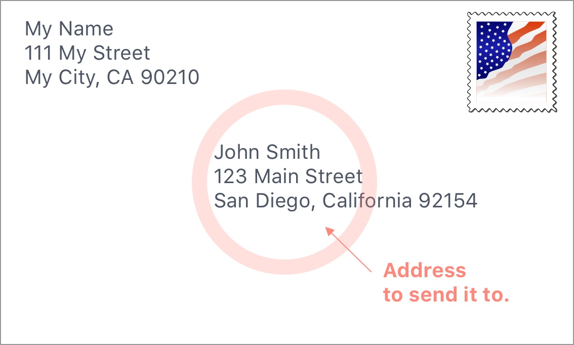 Address to where the envelope is going to.