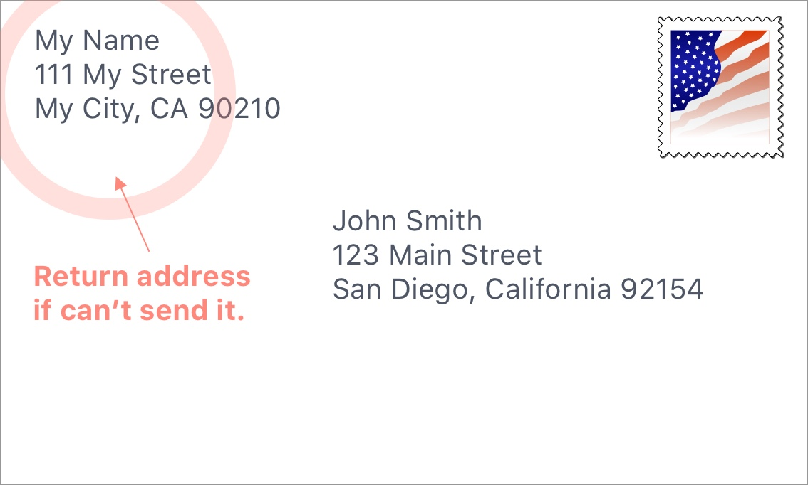 Envelope with the return address.