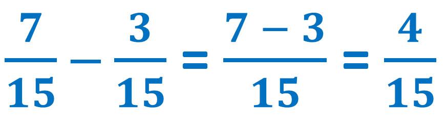 seven-fifteenths minus three-fifteenths equals four-fifteenths