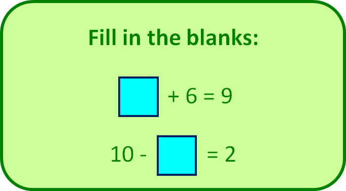 Fill the blanks with the correct numbers