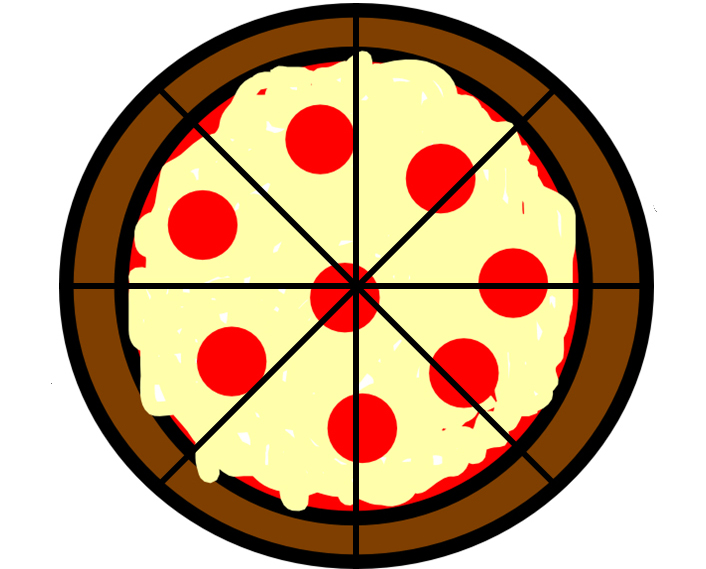 pizza divided into 8 slices