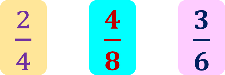 a set of equivalent fractions