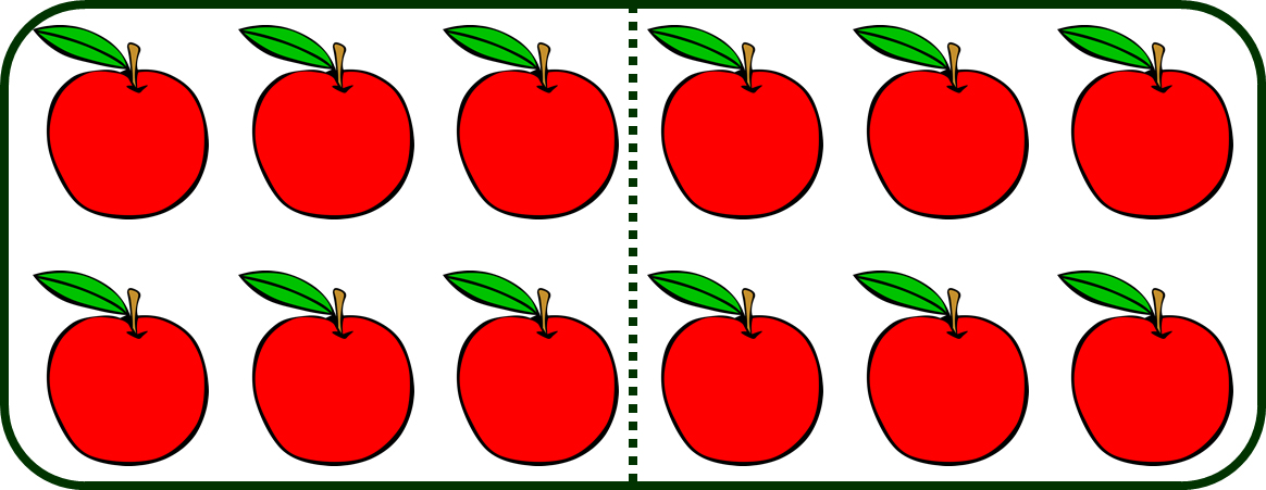 the set of apples divided into 2 equal parts
