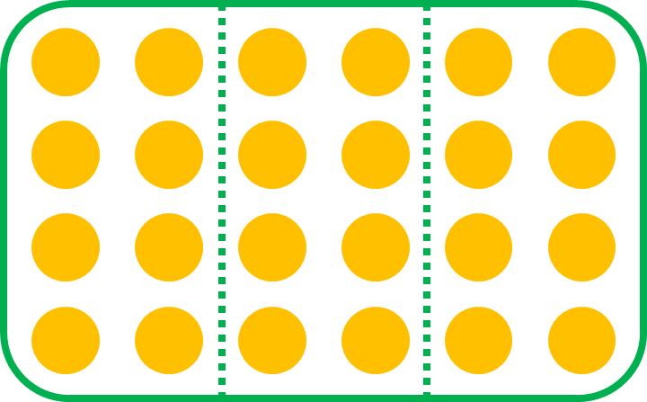 the set of circles divided into 3 equal parts