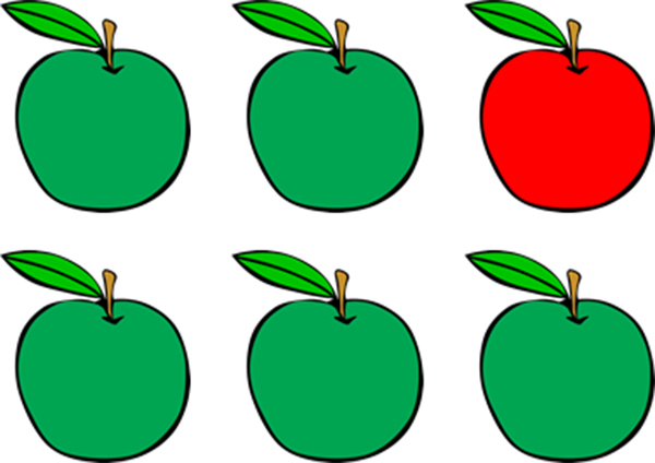 5 green apples and 1 red apple
