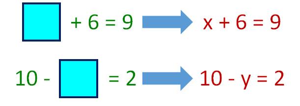 x + 6 = 9, 10 - y = 2